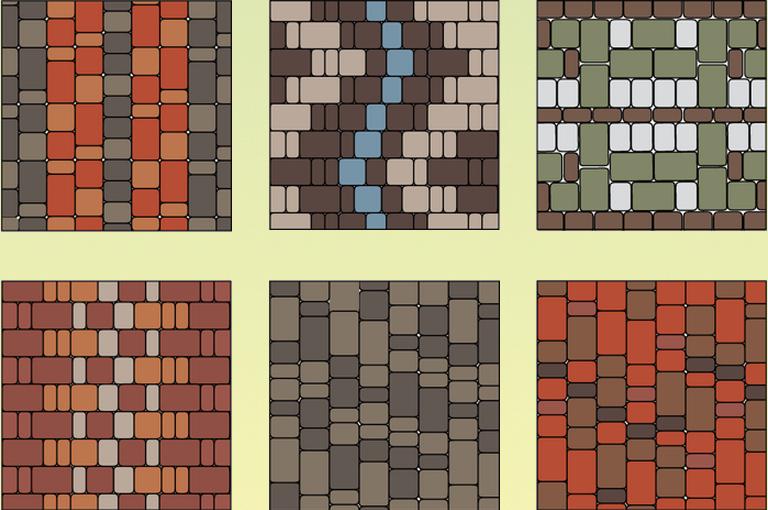 Схеми для укладання обмостки з плитки Старе місто